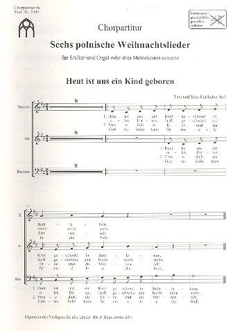 Polnische Weihnachtslieder Texte.6 Polnische Weihnachtslieder Für Gem Chor Und Orgel